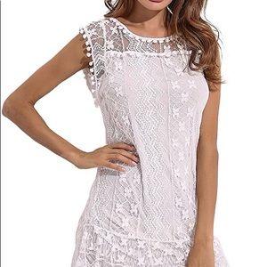 White Crochet Lace and Pompom Dress